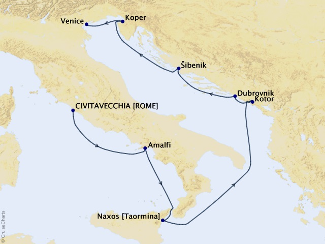 9-night Amalfi and Dalmatian Coasts Cruise Map