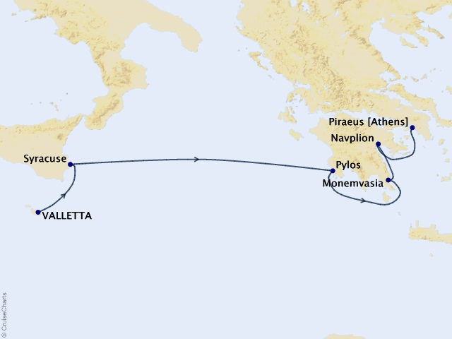 6-night Sicily & Greece Cruise Map