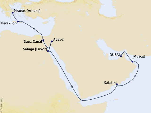 16-night Oman, Egypt, and Jordan Voyage Map