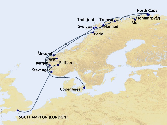 17-night Norway Intensive and North Cape Voyage Map