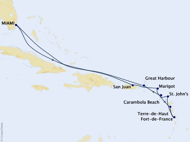 12-night Gems of the Leeward Islands Cruise Map