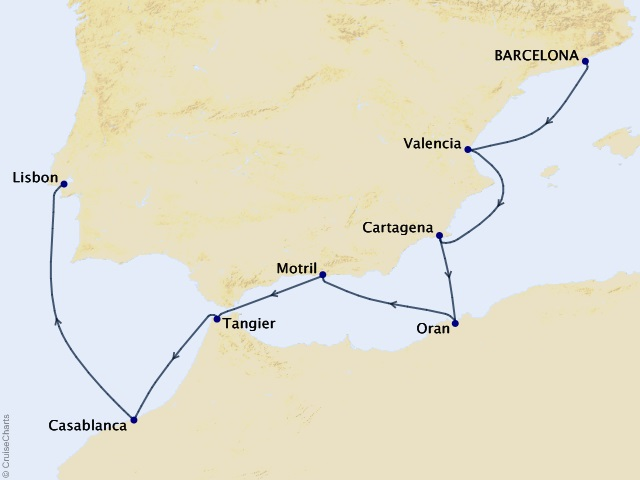 8-night Iberian & Moroccan Quest Cruise Map