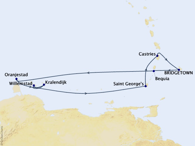 9-night Southern Caribbean Cruise Map