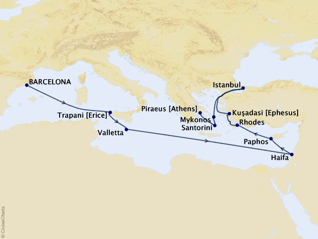 15-night Mediterranean Sojourn Cruise Map