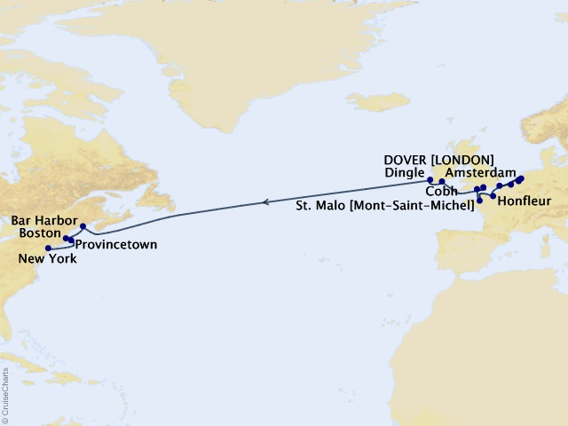 21-night Grand Journey – Epic Atlantic Crossing Cruise Map