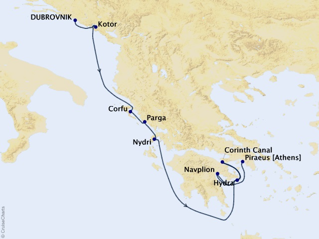 7-night Grecian Yachting Gems Cruise Map