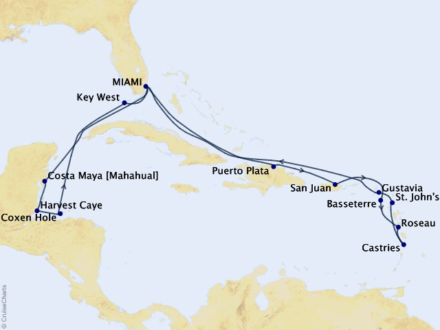 18-night A Caribbean Expedition Cruise Map