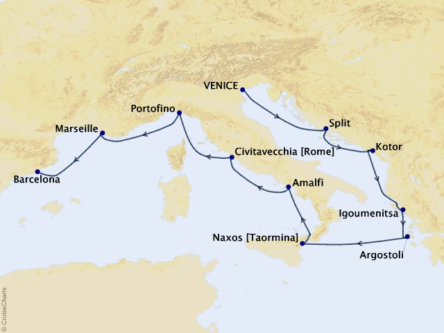 10-night Canals to Catalonia Voyage Map