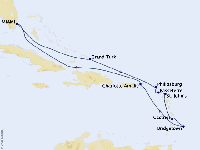 14-night Caribbean Holiday Cruise Map