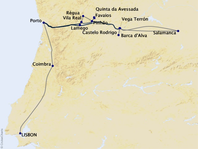 9-night Portugal's River of Gold Cruisetour Map
