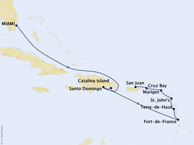11-night Gems of the Antilles Cruise Map