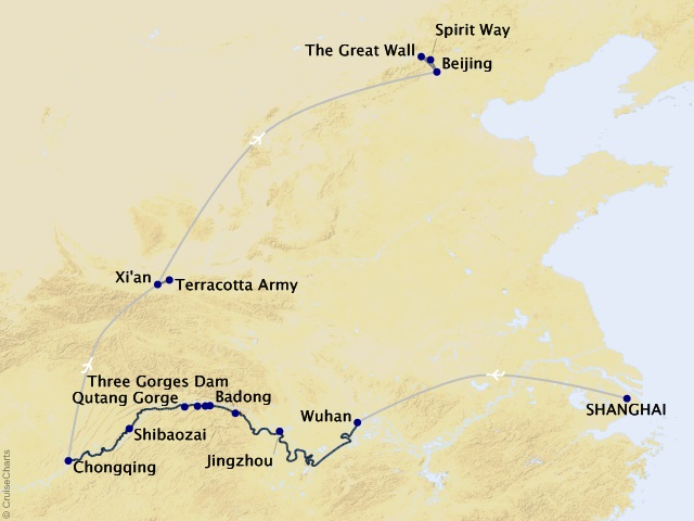 13-Night Imperial Jewels of China Cruise/Land Package Map
