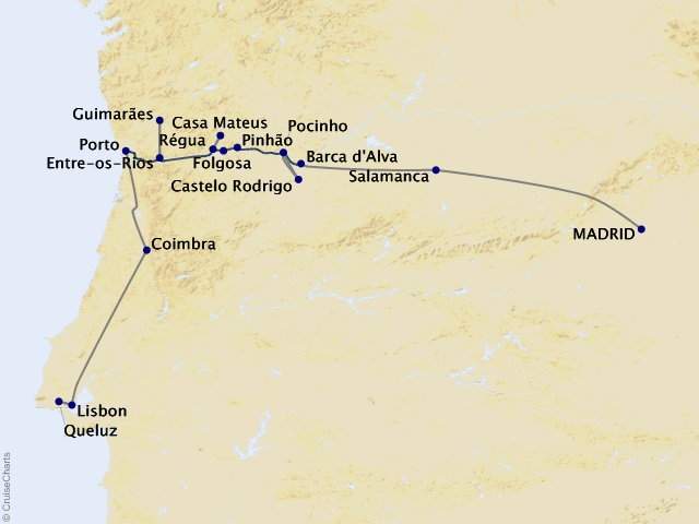 11-night Exploring the Douro, plus Lisbon and Madrid Cruise/Land Package Map