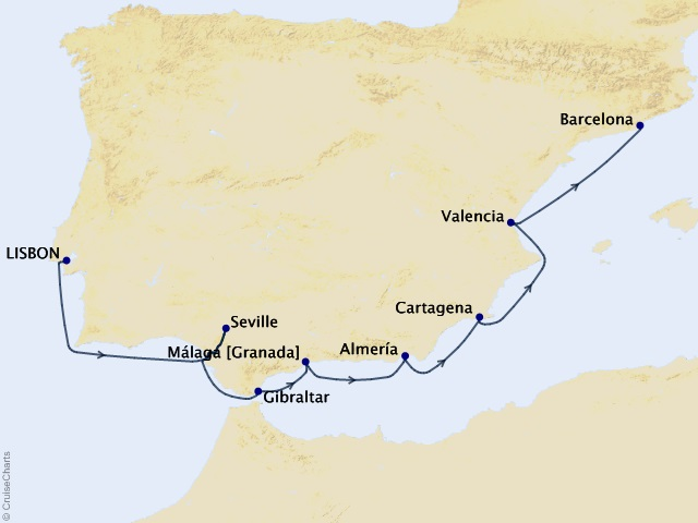 10-night Spain Intensive Voyage Itinerary Map