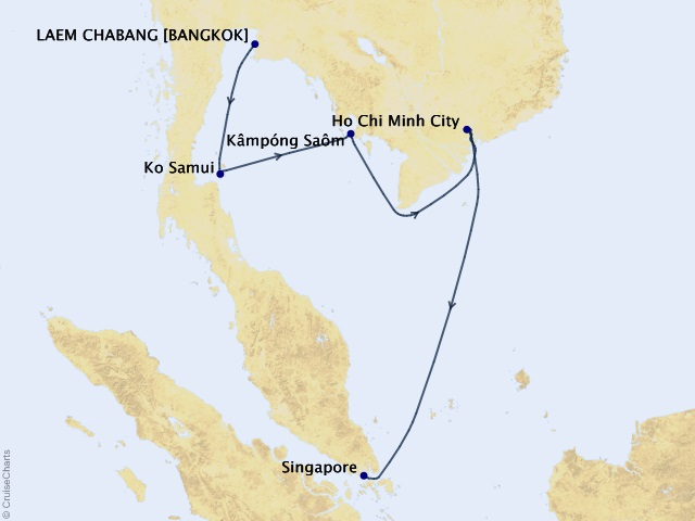 9-night Southeast Asia Storyteller Cruise Map