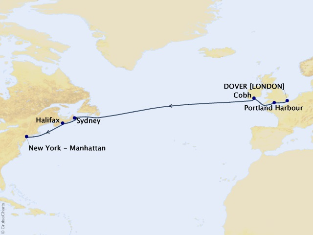 10-night Westbound Transatlantic Cruise Map