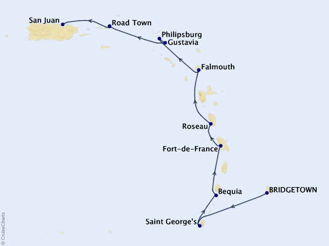 10-night Caribbean & Central America Cruise Map