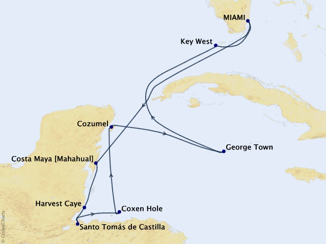10-night Mayan Marvels Cruise Map