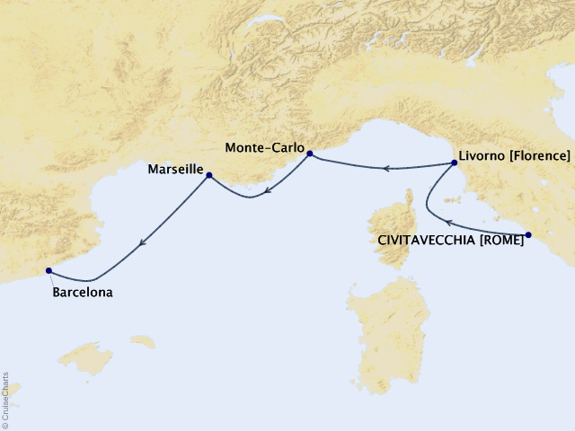 7-night Iconic Western Mediterranean Cruise Map