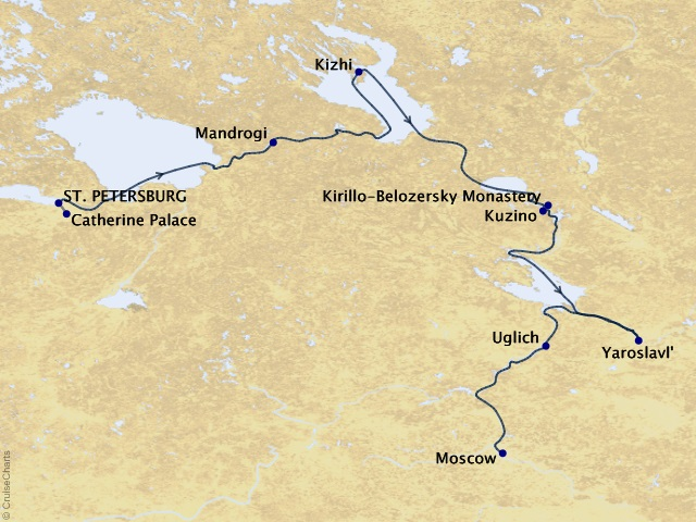 12-night Waterways of the Tsars River Cruise Map