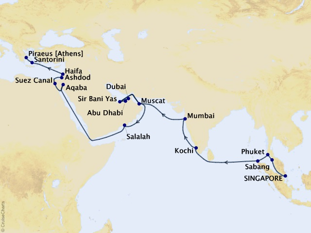 36-night Gems of India, Arabia, and Holy Land Cruise