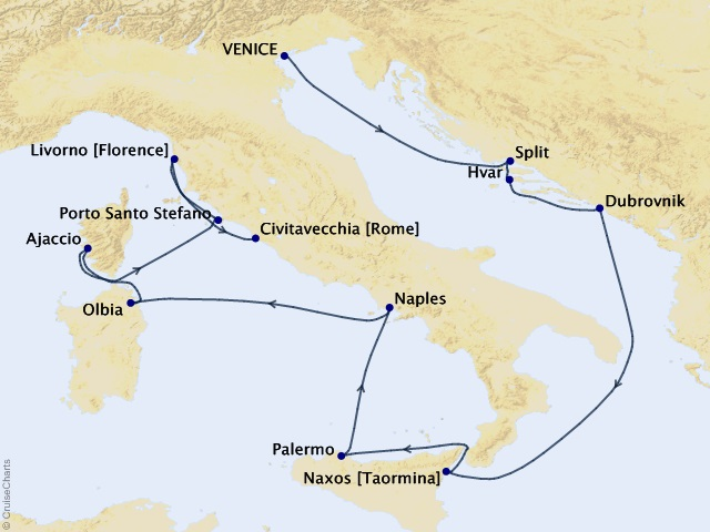 12-night Mediterranean & Adriatic Cruise Map