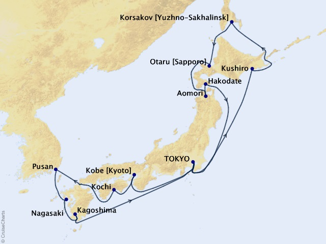 18-night Japan Grand Voyage Cruise Map