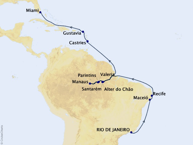 21-night Amazon and the Atlantic Voyage Map