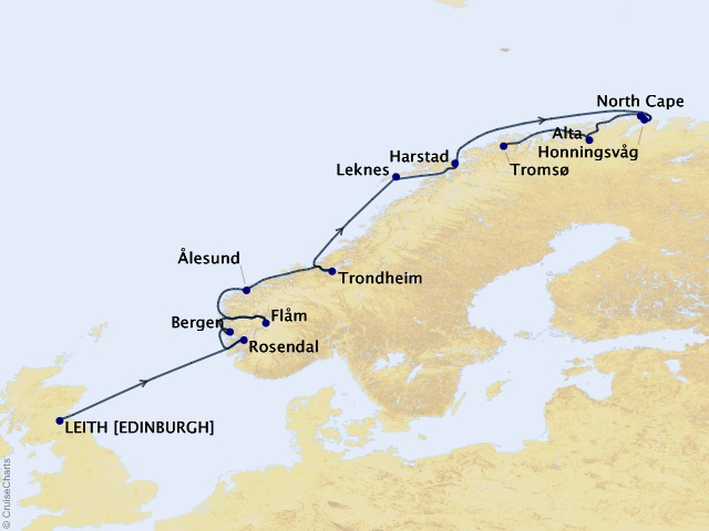 12-night Norway Cruise Map