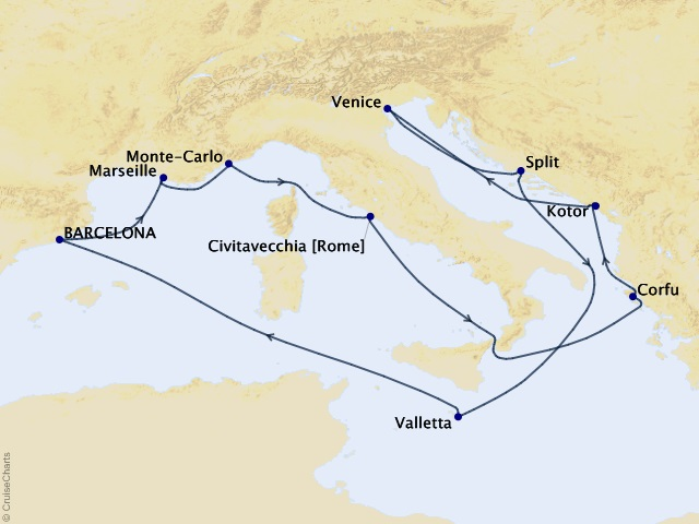 13-night Magic in the Mediterranean Cruise Map