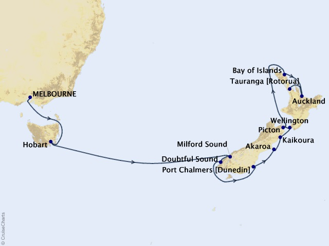 14-night Australia and New Zealand Cruise Map