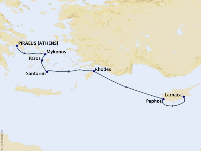 9-night The Greek Isles and Cyprus Cruise Map
