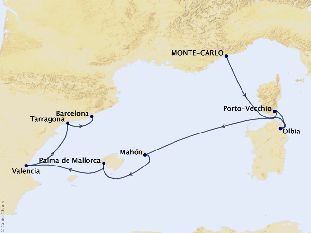 Monte Carlo to Barcelona Voyage Map