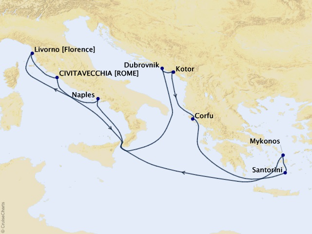 10-night Greek Isles and Italy from Rome (Civitavecchia) Cruise Map