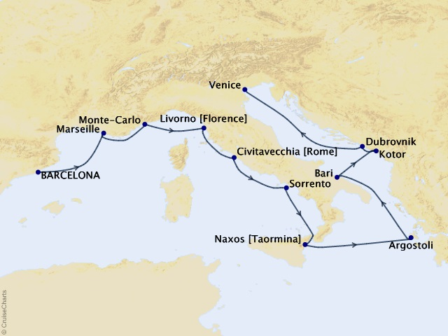 12-night Ciao Italia Cruise Map
