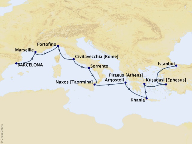 12-night Essence of Aegean Voyage Itinerary Map