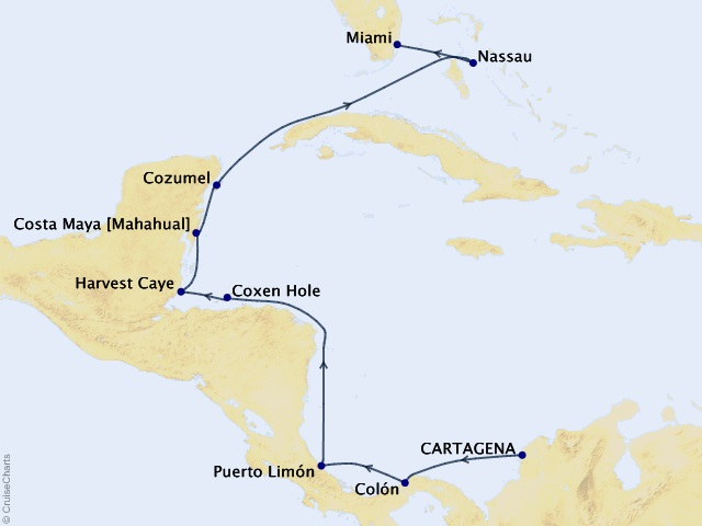 11-night Sun, Sand, & Sails Cruise Map