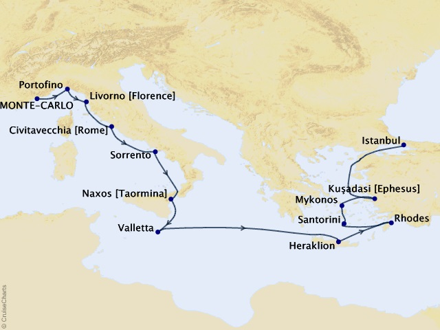 14-night Autumn on the Aegean Cruise Map