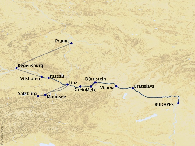 12-night Melodies of the Danube Cruise/Land Package Map