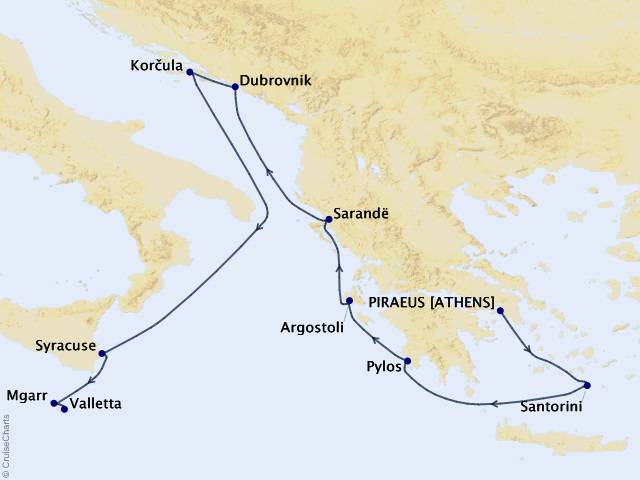10-night Adriatic Magic and Malta Cruise Map