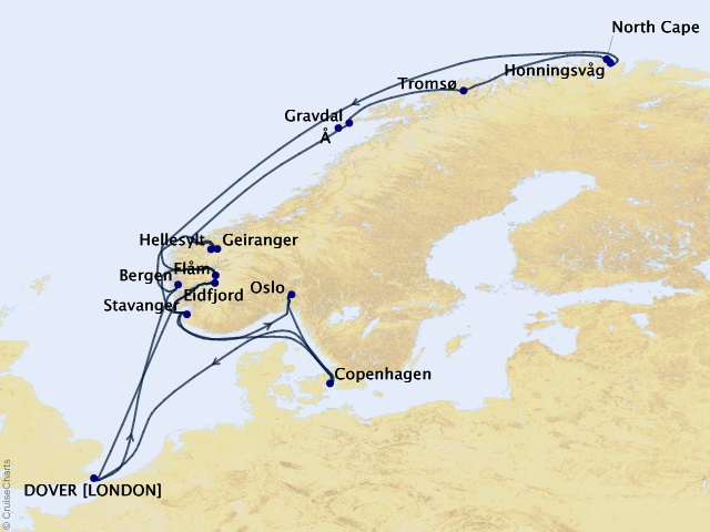 21-night Grand Journey – Norwegian Fjords & North Cape Cruise Map
