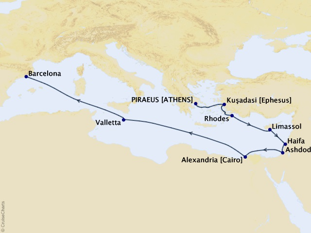 12-night Spiritual Wonders Cruise Map