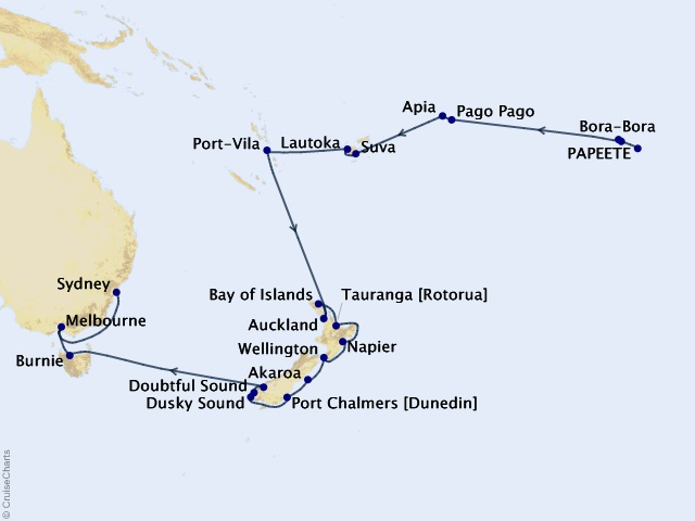 29-night From Polynesia to the Harbour City Cruise Map