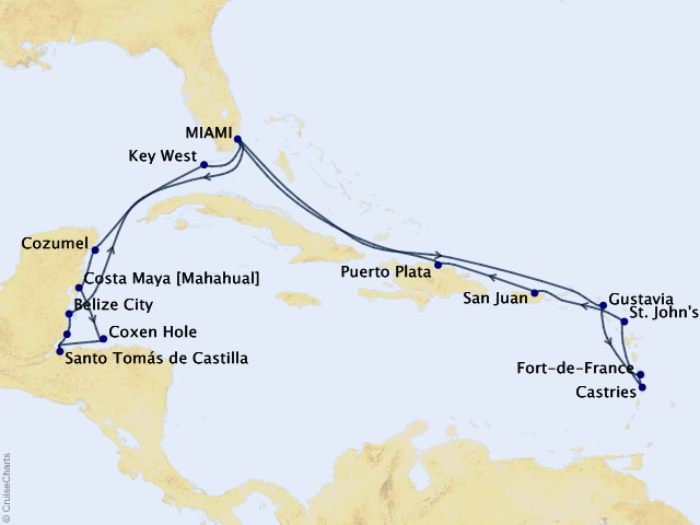20-night Breezeway to Belize Voyage Map