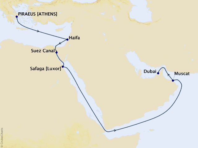 16-night Holy Land and Middle East Cruise Map