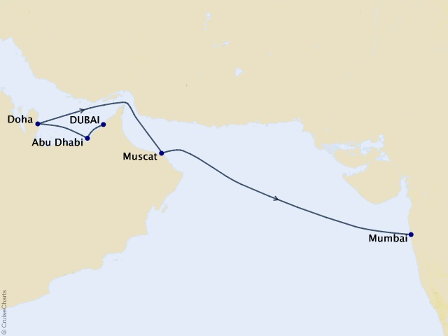 9-night Middle East Cruise Map