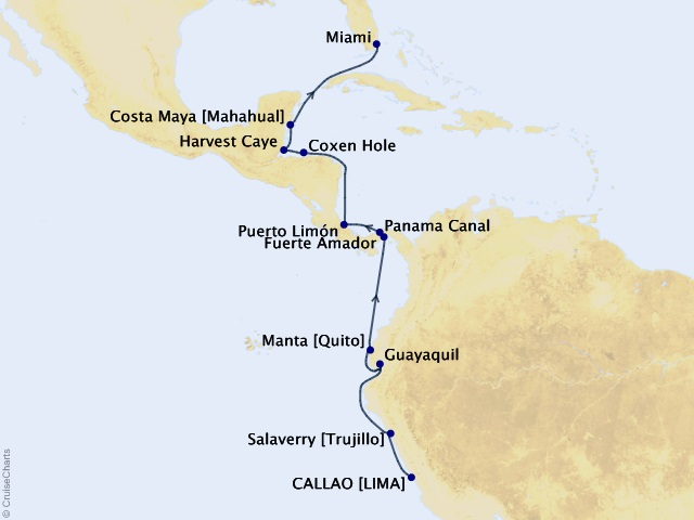14-night Peru, Panama, & Pristine Shores Cruise Map