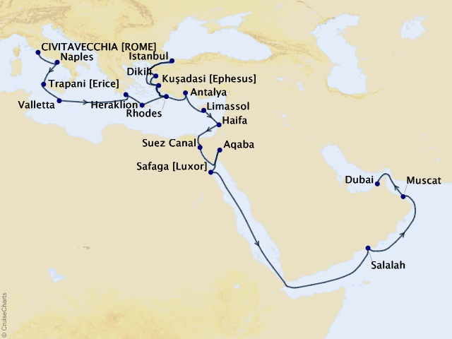 30-night Passage Through Time Voyage Map