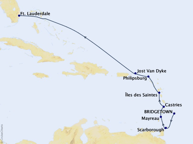 9-night Caribbean and Central America Cruise Map