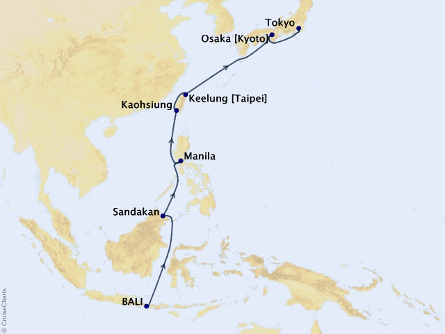 The Tale of Tales - World Cruise 2019 – Segment 4 Map